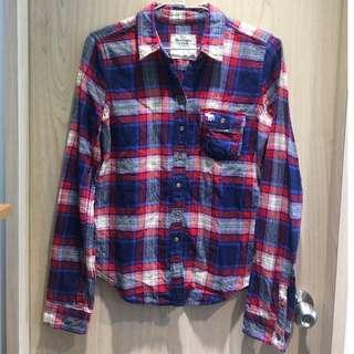 Abercrombie & Fitch 經典格紋襯衫,冬天厚料,只穿過一次,9成新,網路代購約2500