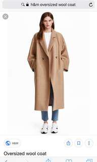 Oversized 100% wool coat