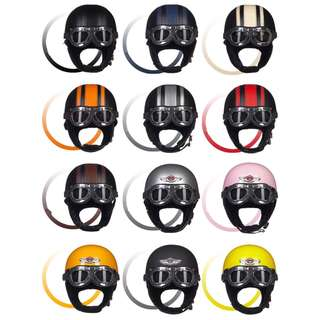 Many Colours/Designs Motorcycle Half Helmet Cap Open Face Three Button Snap Retro Vintage Vespa Scooter Cafe Racer Motorbike Leather Gloss Old School