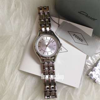 Authentic NBU Fossil Ladies Watch Stainless Silver BQ1590ie