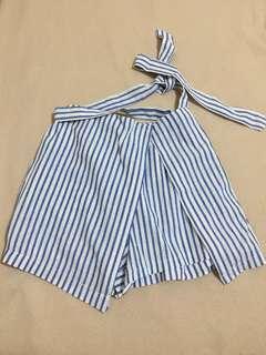 Celana skort salur putih biru dengan tali