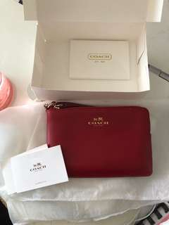 Coach Red Wristlet (genuine leather)