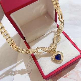 18k藍寶石鑽石項鍊!重量27.20克!主石2.90克拉!副石0.67克拉!