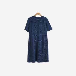 🚚 脫臼古著 / 深藍印花洋裝 no.600 vintage