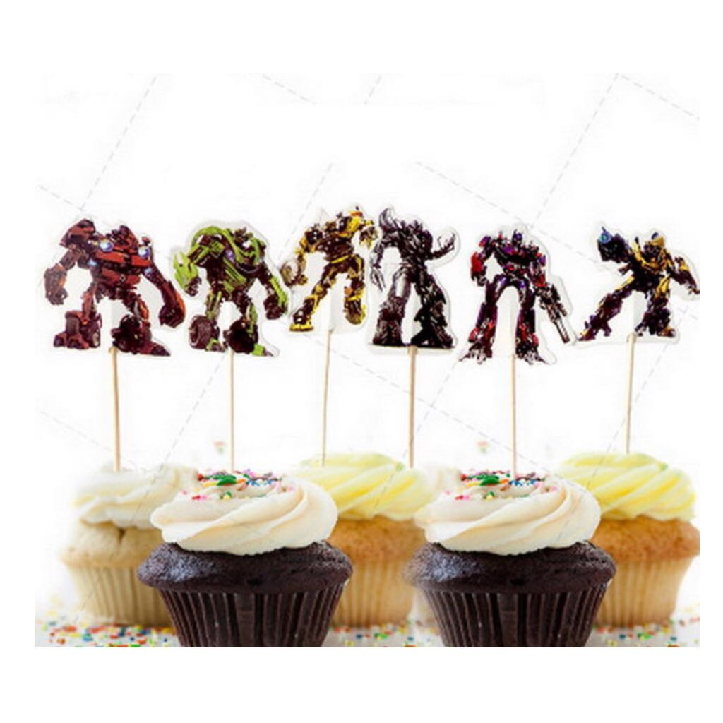 12 Pcs Transformers Robot Cupcake Topper Cake Toppers Birthday Party