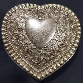 1960s Vintage Engraved Silver Plated Heart Shaped Jewelry Box