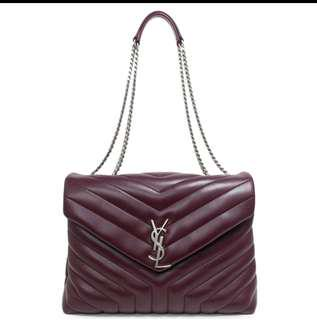 Saint Laurent Burgundy Calfskin Medium Loulou Monogram Chain Bag