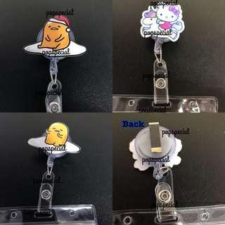 Gudetama OR Hello Kitty Card Holder Retractable Reel