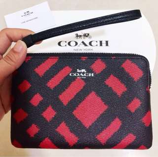 [FINAL SALE] BN Authentic COACH Corner Zip Small Wristlet with Wild Plaid Print - Red