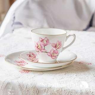 Vintage pink cymbidium orchid English bone china trio, rare pattern