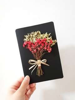 Dried Red Baby Breath Flowers Gift Card