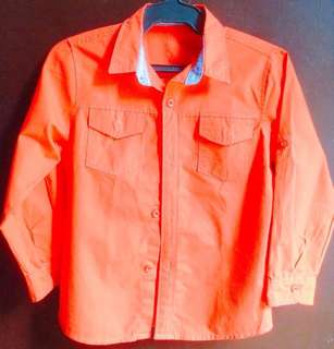 Zack and Mack Big Boy's Long Sleeve Dress Western-style Solid Fire Orange Snap Shirt