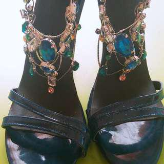 4 inch high heels with rhinestones brand new