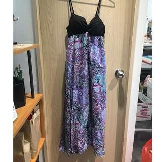 花紋長洋裝,日本購買,裙子有內襯