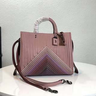 Coach 25035 Leather Quilted Rouge Rain bow Bag Pink