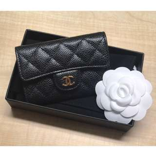 全新 CHANEL 荔枝皮 Card Holder Classic款 金logo