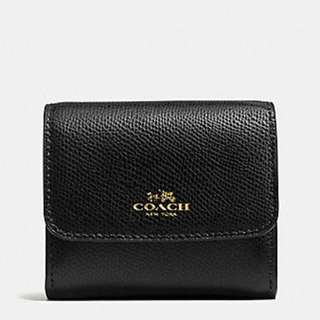 COACH ACCORDIAN CARD / COIN CASE CROSSGRAIN BLACK LEATHER WALLET F54843 IMBLK