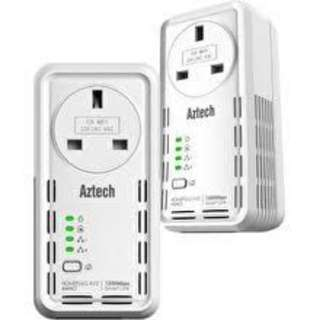2x Aztech SmartLink Homeplug AV2 1200Mbps Ethernet Adapter with Pass Through - HL129EP