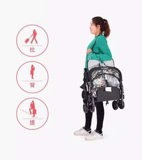 Printed Noiebaby Easy to Carry Trifold Baby Stroller with Trolley Handle