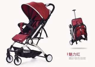 Red Noiebaby Easy to Carry Trifold Baby Stroller with Trolley Handle