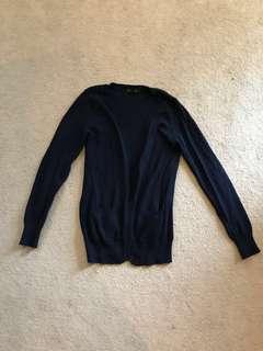 F21 Navy Blue Long Cardigan