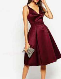 Stunning elegant asos burgundy dress size 8