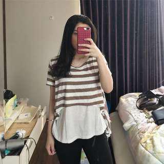 White brown stripe top