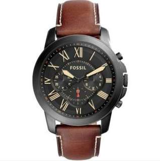 Fossil Grant Brown Strap Black Ion-Plated Steel Case Chronograph Watch FS5241