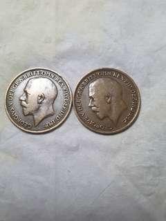 平讓1917 1921 喬治伍世 1便士 玫瑰金  品相如圖  靚  百年靚幣  買少見少