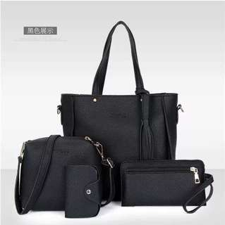4in1 KOREAN TOTE BAG W/ POUCHES & CARD HOLDER