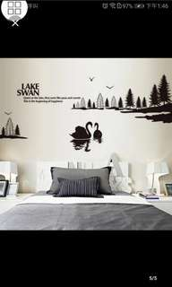 Modern minimalist wall stickers bed solid color bedroom wall decoration scenery Swan Lake wall stickers diy home decor
