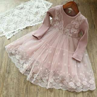 *FREE DELIVERY to WM only / Ready stock* Kids soft lace dress each as shown in design/color grey, pink. Free delivery is applied for this item.
