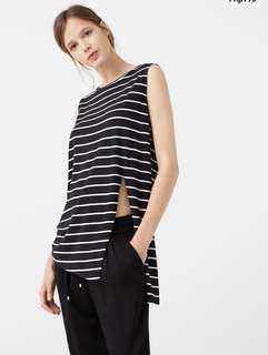 Mango Black and White Stripes Side Slit Top