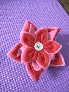 Red n pink big flower Hair tie