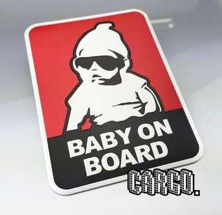 (推介) 全新現貨 baby in car baby on board 金屬 鋁 車貼 車標 汽車貼紙 貼紙