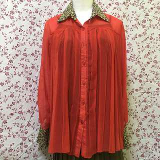 (REDUCED) Red Chiffon Blouse