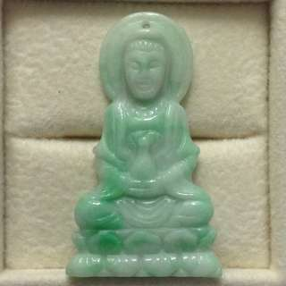 🚚 Natural Type A White Green Guan Yin Pendant, Goddess of Mercy Pendant