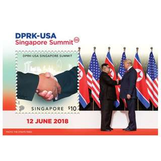 SINGAPORE 2018 DPRK - USA TRUMP KIM SINGAPORE SUMMIT COLLECTOR'S SOUVENIR SHEET OF 1 STAMP IN MINT MNH UNUSED CONDITION WITH FOLDER
