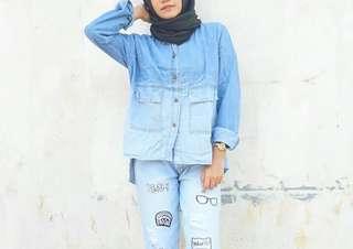 Gradation jeans top