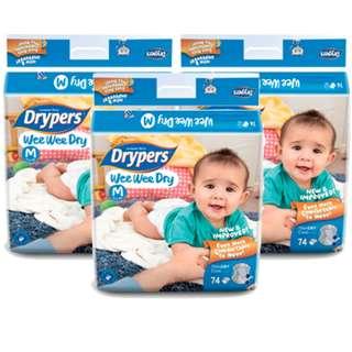 🚚 Dryper Wee Wee Dry M 74S (3 Packs)