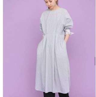 👑KBF 實用兩穿條紋設計口袋風開叉洋裝