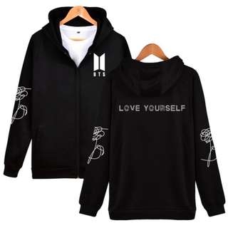 BTS Love Yourself Zipper Hoodie (Black)