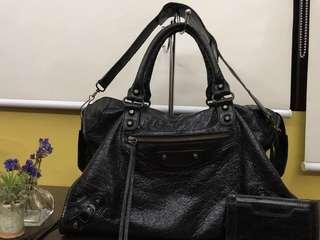 Balenciaga City Regular Hardware in Black Chevre Goatskin Leather. Authentic Moneyback Guaranteed