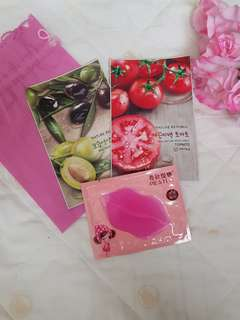 [All for 120] Face Mask & Lip Care plus Beauty Pouch