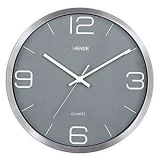 1500. HENSE 12 Inches Modern Stylish Elegant Silent Non-ticking Metal Round Wall Clock, Simple Creative Wall Clock For Living Room Bedrooms Office Kitchens, Operated By BatteryHW56 (Silver Frame with Grey Dial)