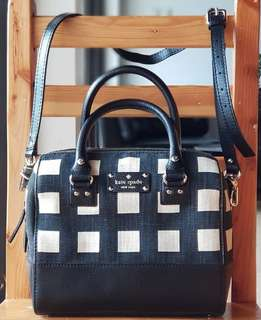 Authentic Kate Spade Two-way Black and white Canvas and Genuine Leather Satchel GHW Kate Spade Satchel