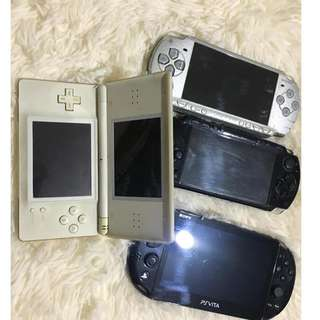 Psvita slim with two PSP1000 and a nintendo ds