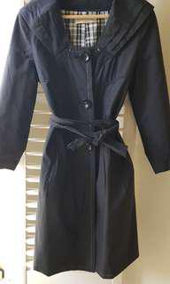 Black ladies trench coat jacket S 6-8