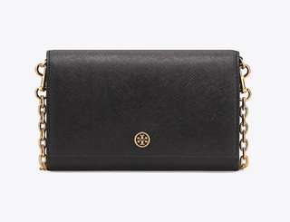 Tory Burch Robinson chain wallet 鍊銀包 細袋 bag chain bag 100% Real black leather 皮袋