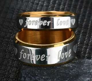"""Couple rings """"forever love"""" silver color free engrave"""